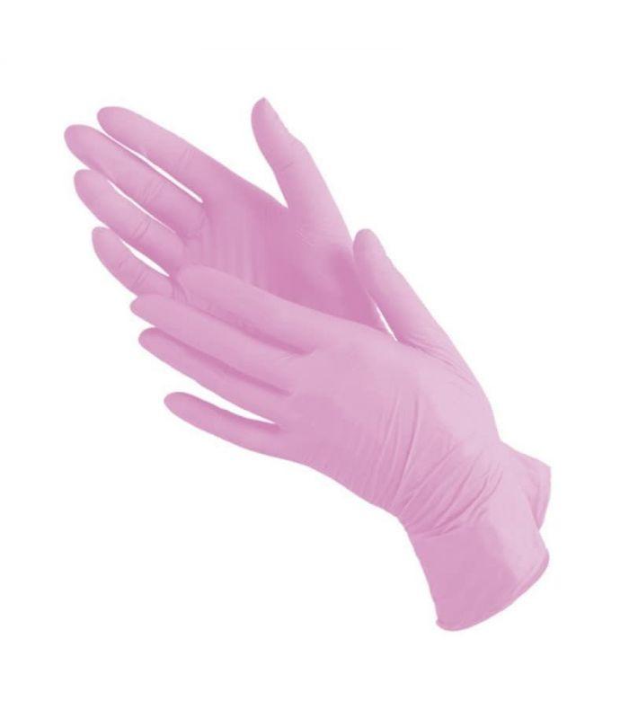 Нитриловые перчатки розового цвета